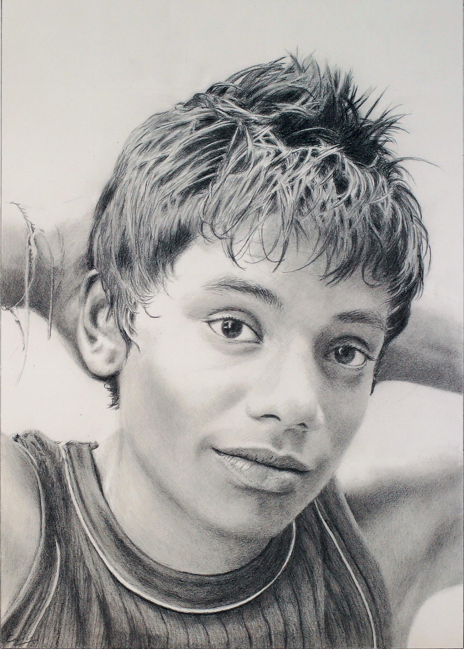 Pencil drawing portrait of a sri lankan boy